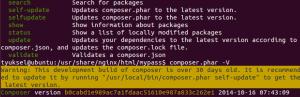 composer versiyon update uyarısı